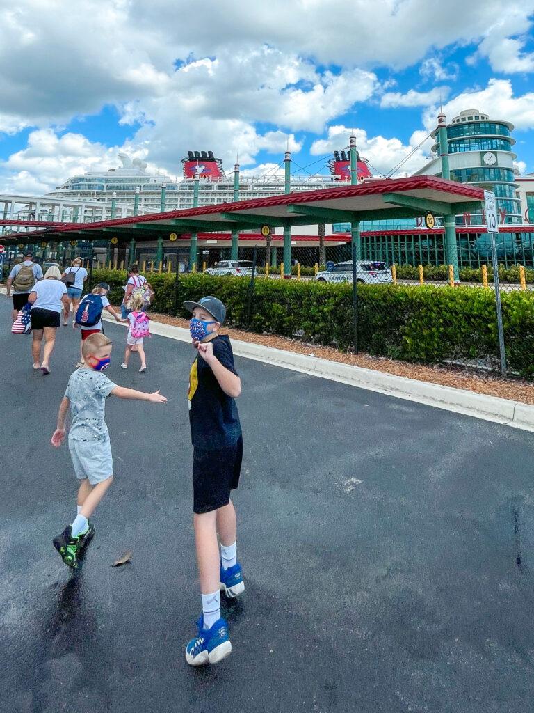 Passengers heading toward the Disney Dream at the Disney Cruise Line Terminal.